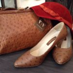 Create a stylish look with this ostrich leather bag and shoes with saucy red forties hat